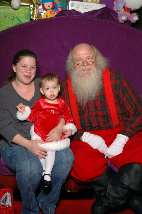 Jenna, Mommy, and Santa.